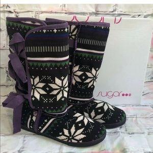 Sugar Moragami Faux Fur Tie Calf Boots Mucks Aztec